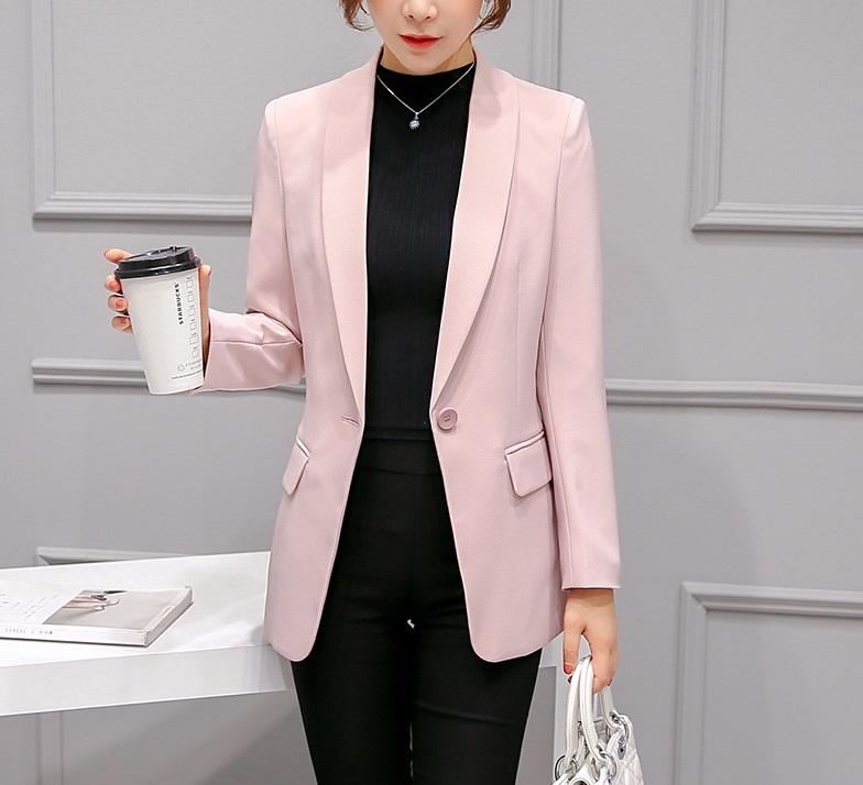 เสื้อสูทมาใหม่ตัวยาวมีซับใน กระเป๋าจริง 300RX สีชมพูนวล