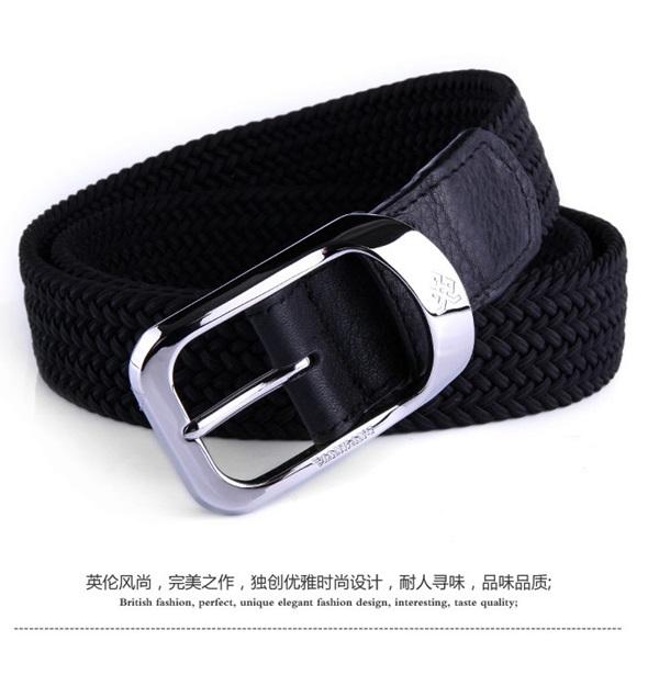 พรีออเดอร์ เข็มขัดผู้ชาย เข็มขัดเชือกถักแต่งด้วยหนังแท้สีดำ หัวสีเงิน เวอร์ชั่นเกาหลี