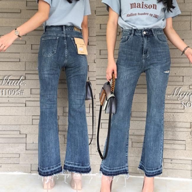 กางเกงแฟชั่น ZARA style denim กางเกงยีนส์ขาม้ายาว ทรงเอวสูง