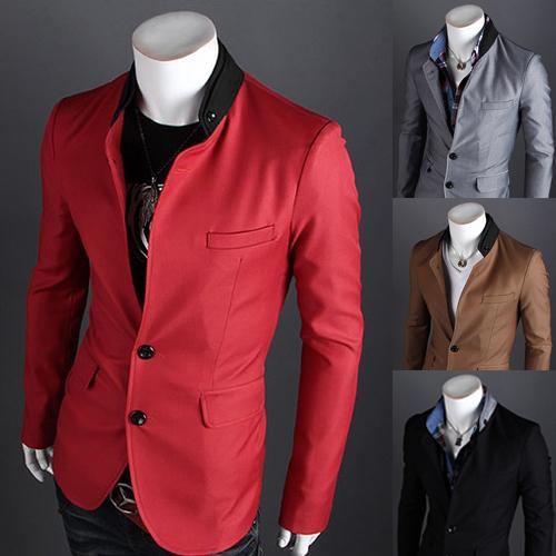 Pre-Order เสื้อสูท สูทลำลอง สูทบาง สูทเบลเซอร์ลำลอง แขนยาว ผ้าฝ้ายผสม สีแดง