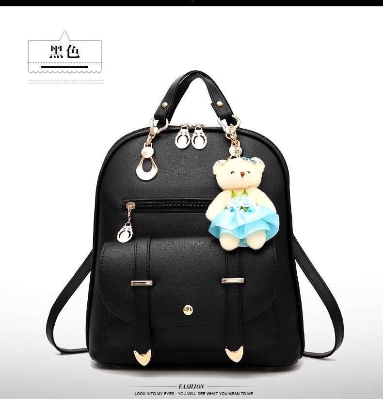 กระเป๋าเป้ พวงกุญแจหมี หนัง PU ปรับสายให้สามารถสะพายไหล่ สะพายข้างได้ สีดำ