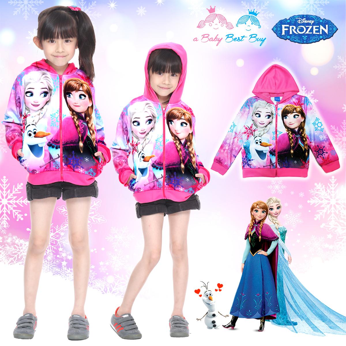 """"""" ( Jacket Disney Frozen for Girl เสื้อแจ็คเก็ต เสื้อกันหนาว เด็กผู้หญิง สีชมพู รูดซิป มีหมวก(ฮู้ด)ใส่คลุมกันหนาว กันแดด ใส่สบาย ดิสนีย์แท้ ลิขสิทธิ์แท้"""