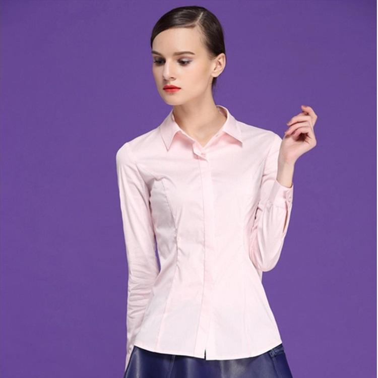 (Pre-Order) เสื้อผ้าแฟชั่นเกาหลีปี 2014 เสื้อเชิ้ตทำงาน เสื้อผ้าทำงาน แขนยาว กระดุมหน้า ผ้าฝ้ายผสม สีชมพู