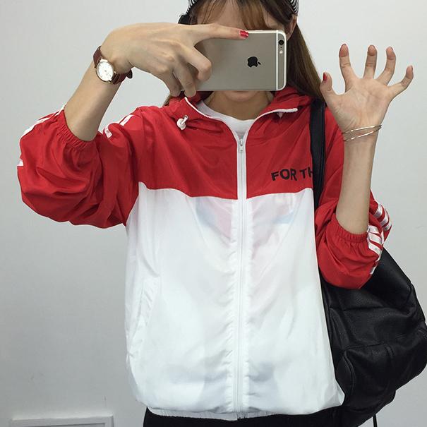 [พร้อมส่ง] เสื้อแจ๊คเก็ตกันแดดมีฮูด FOR THE สีแดง