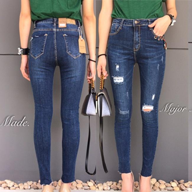 กางเกงแฟชั่น Jeans Style Korea กางเกงยีนส์ แฟชั่น ขายาว ทรงเดป