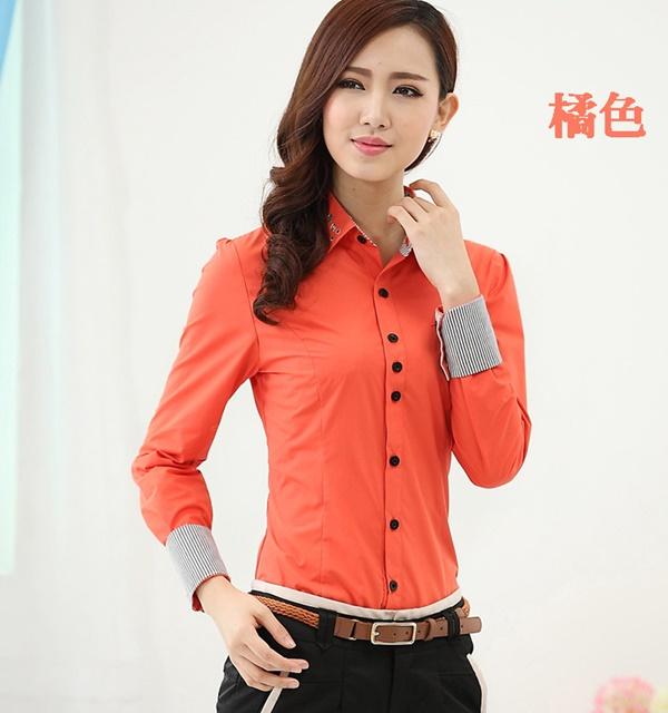 Pre-Order เสื้อเชิ้ตผู้หญิง เข้ารูป แขนยาว สีส้ม ผ้าฝ้าย แต่งด้วยผ้าลายริ้วที่ปลายแขนและสาบคอ