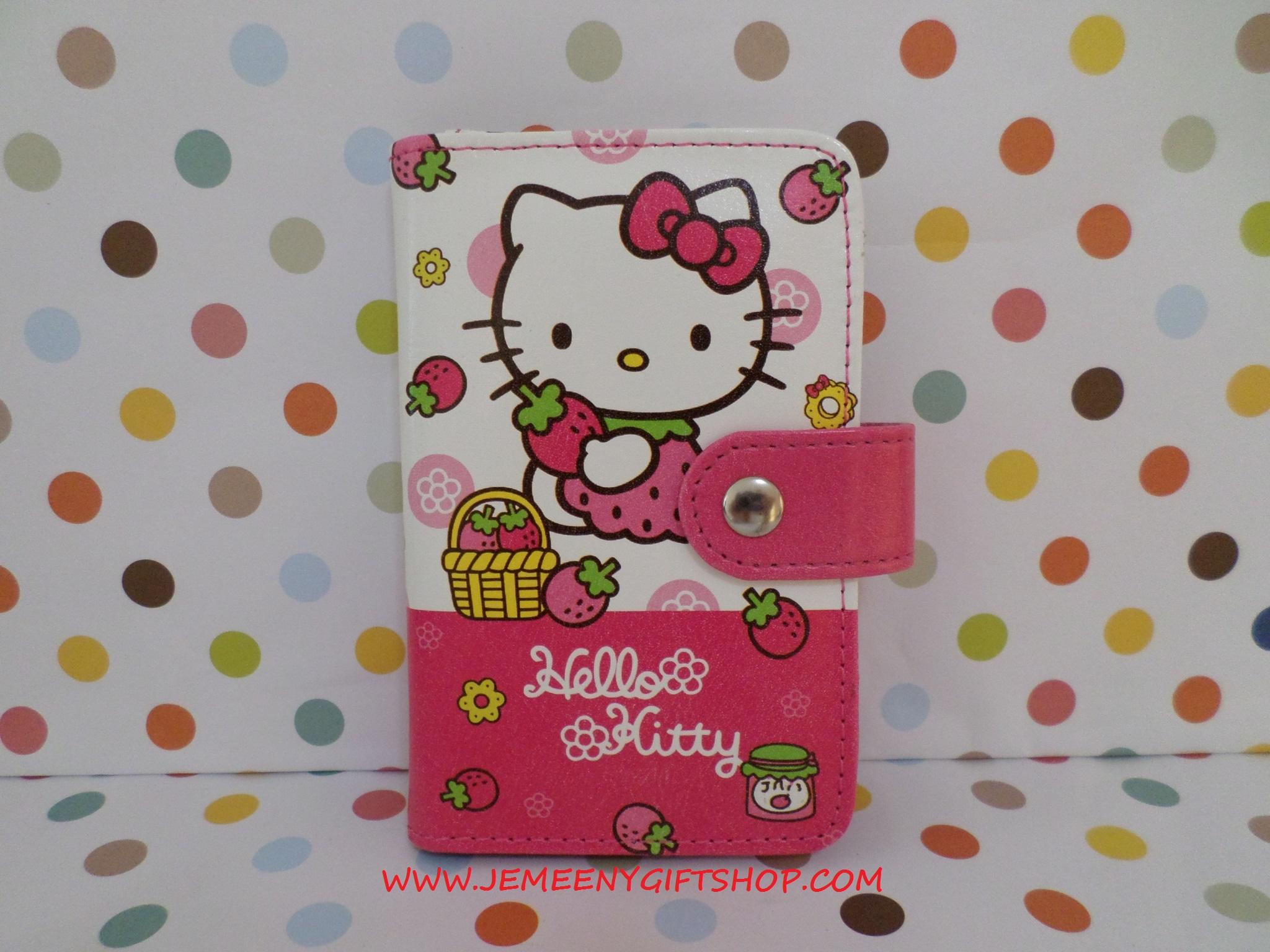 กระเป๋าใส่บัตร บัตรต่างๆ ฮัลโหลคิตตี้ Hello kitty#1 ขนาดยาว 9 ซม. * สูง 12 ซม. ลายคิตตี้สตรอเบอรี่ สีชมพู