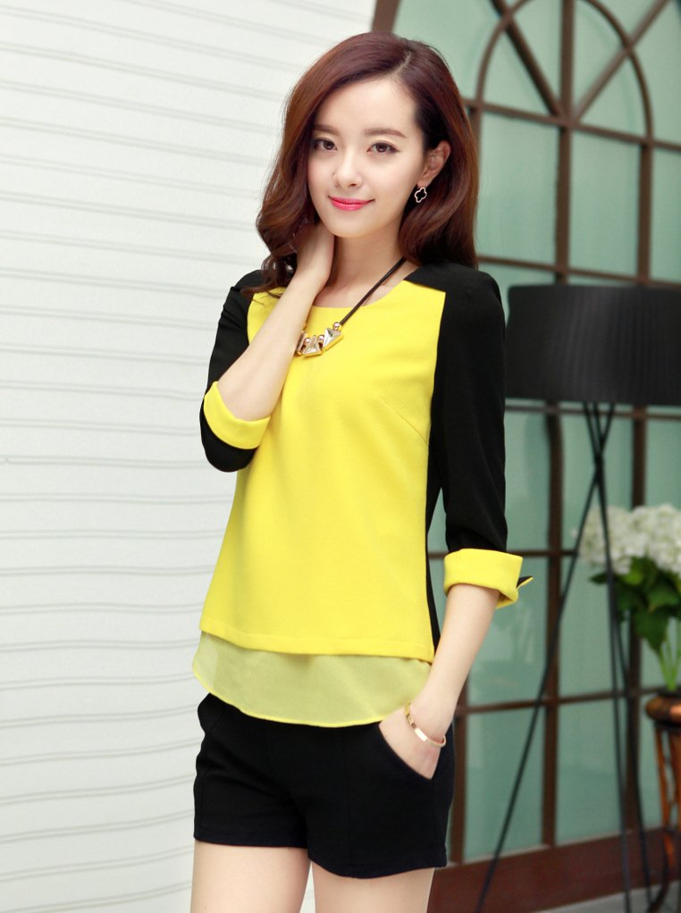 PreOrderคนอ้วน - เสื้อแฟชั่นเกาหลี คนอ้วน ไซส์ใหญ่ ผ้าฝ้าย ดีไซส์เก๋ ๆ ใส่ได้หลายงาน สีดำเหลือง