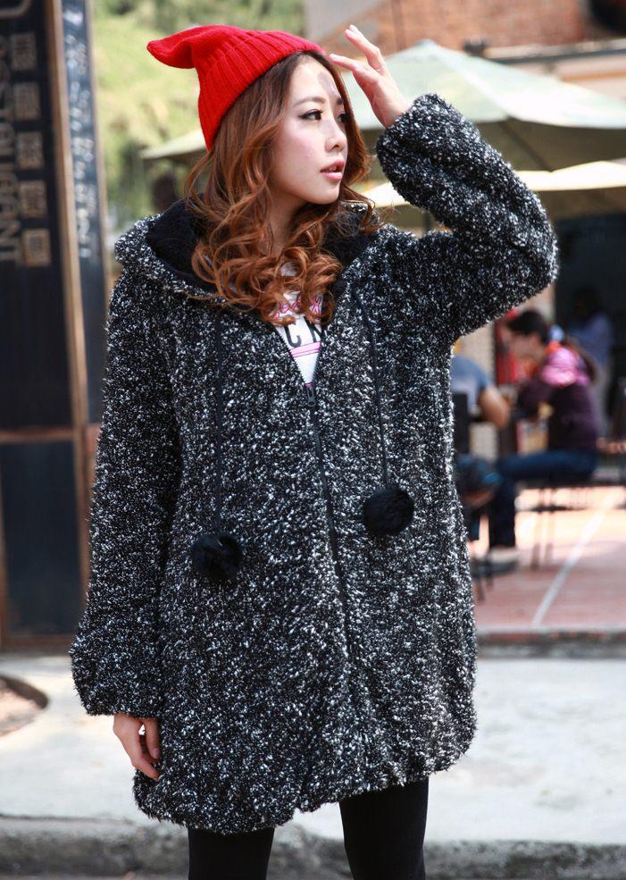 PreOrder - เสื้อกันหนาวแฟชั่นเกาหลี ไซส์ใหญ่ ไซส์เล็ก แจ๊คเก็ตผ้าฝ้ายตัวใหญ่ มีขนปุย สี : ดำ / แดง