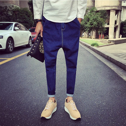 กางเกงยีนส์ขายาวญี่ปุ่น สีน้ำเงินเข้ม ทรงดินสอ แต่งแถบซิบ