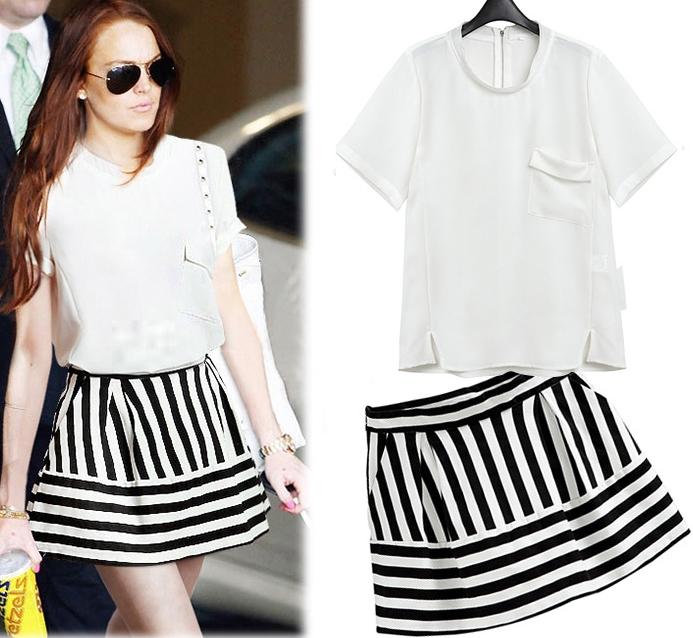 PreOrderไซส์ใหญ่ - เซตคู่เสื้อ+กระโปรงไซส์ใหญ่ คนอ้วน เสื้อยืดแต่งกระเป๋าด้านหน้าซิปหลังสีขาว กระโปรงสั้นลายมาลาย
