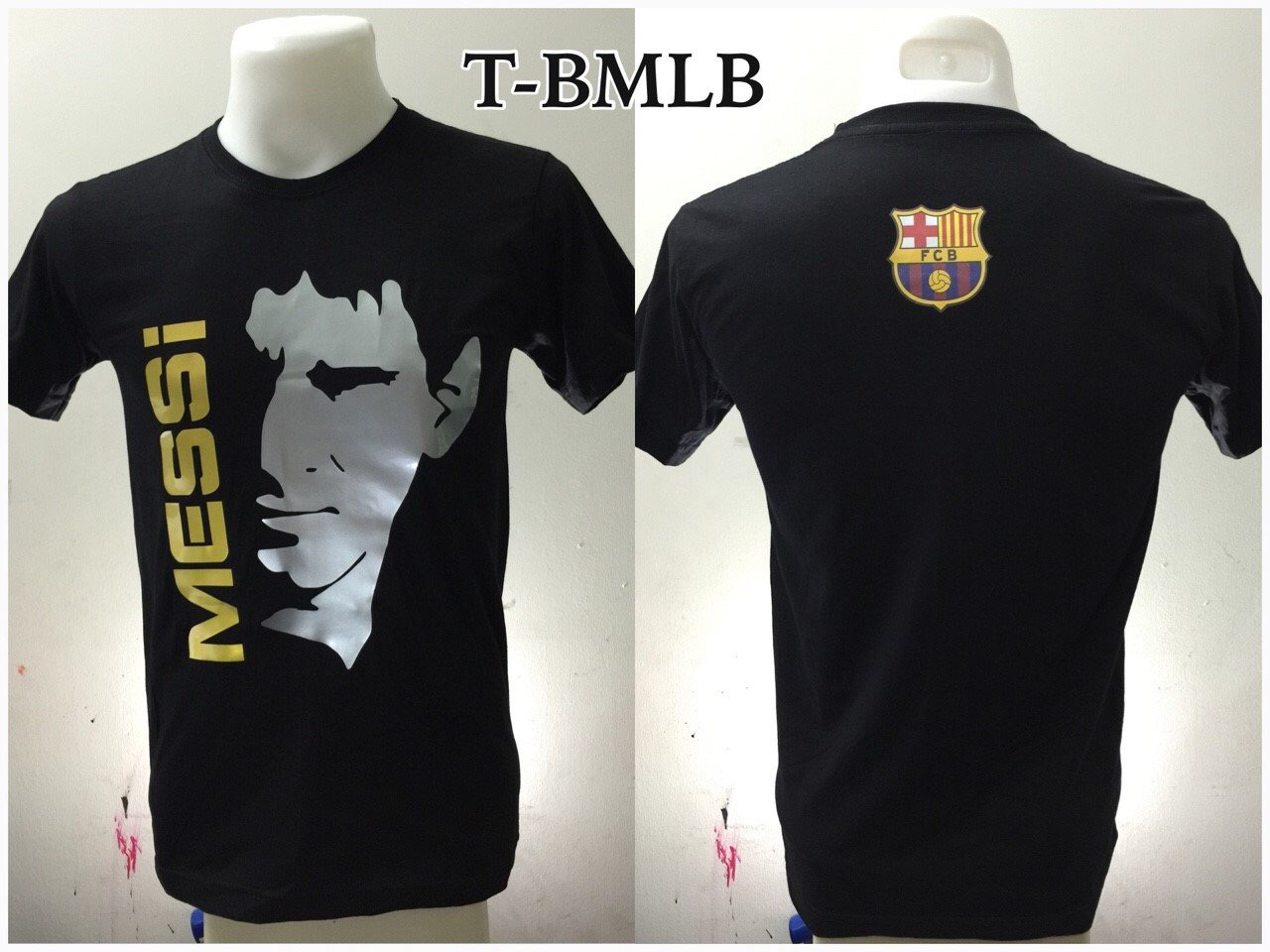 เสื้อยืด บาร์เซโลน่า ลาย เลียวเนล เมสซี สีดำ T-BNMB