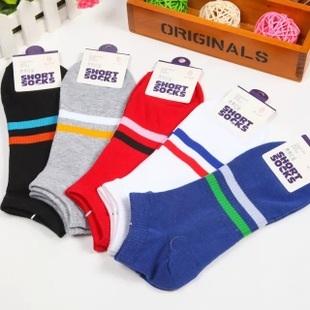 S356**พร้อมส่ง** (ปลีก+ส่ง) ถุงเท้าแฟชั่นเกาหลี ข้อสั้น ชาย คละ 5 สี มี 10 คู่ต่อแพ็ค เนื้อดี งานนำเข้า(Made in China)