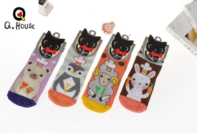 U037-11**พร้อมส่ง** (ปลีก+ส่ง) ถุงเท้าเด็ก Q House (3-6 ปี) มีกันลื่น เนื้อดี งานนำเข้า ( Made in China)
