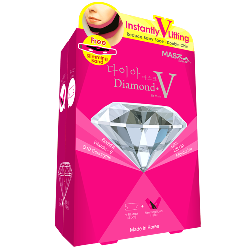 Diamond V-fit mask ไดมอนด์ วีฟิต มาส์ค สายรัดหน้าเรียว+แผ่นมาส์ค 5 ชิ้น