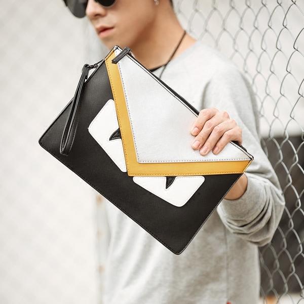 Pre-order กระเป๋าคลัทซ์ผู้ชาย ใส่ tab ipad 10 นิ้ว มอนสเตอร์คลัทช์แฟชั่นเกาหลี Man-8682-3 สีเหลือง ตาคู่