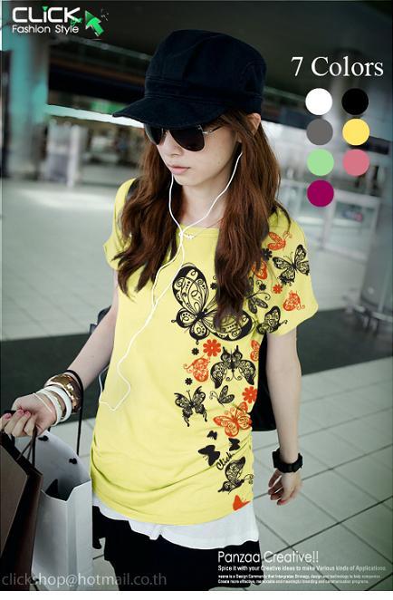 เสื้อยืดแฟชั่น ชายเสื้อดึงยาง ลาย Color Butterfly สีเหลือง
