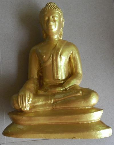 พระบูชา (พระผงจักพรรดิ์ ) พระอู่ทอง ทาสีทอง ขนาดประมาณ 4 นิ้ว