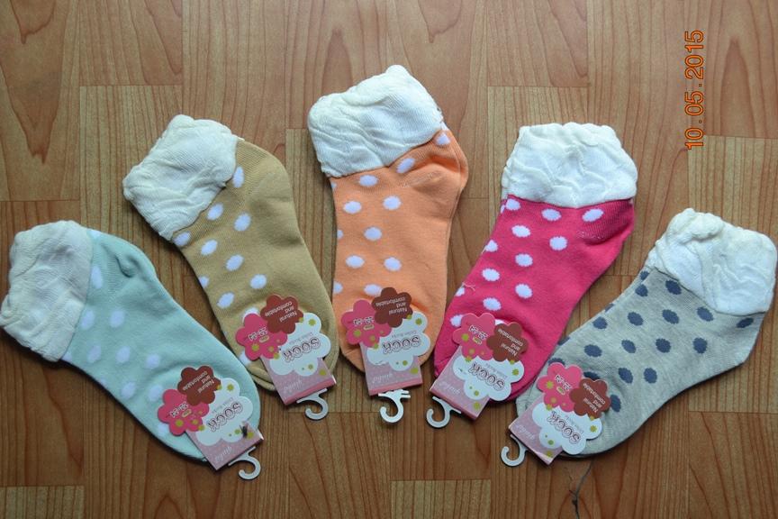 S393**พร้อมส่ง** (ปลีก+ส่ง) ถุงเท้าแฟชั่นเกาหลี ข้อสั้น ลายวงกลม แต่งขอบระบาย เนื้อดี งานนำเข้า(Made in china)