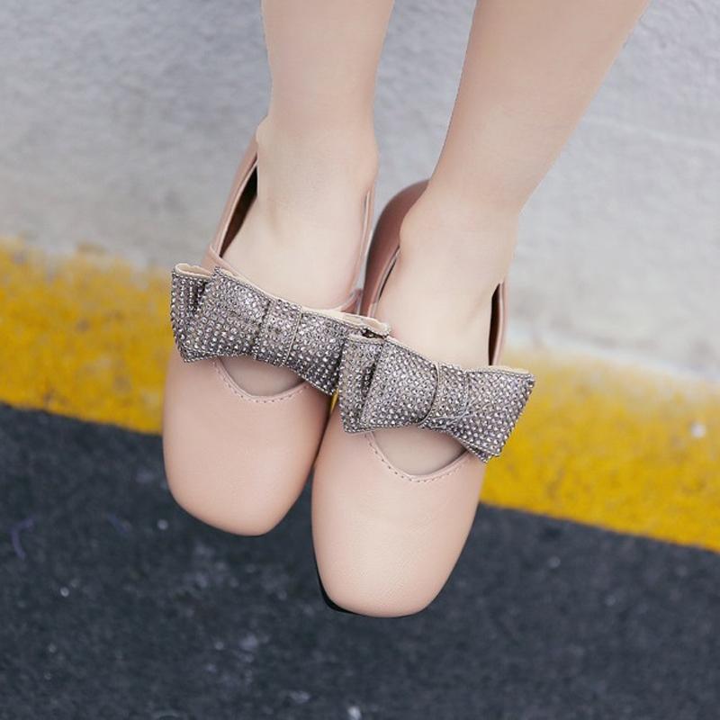 รองเท้าคัทชู #โบว์วิ้ง #หนังpu นิ่ม สีชมพูเบจ