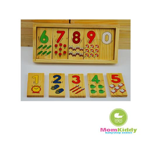 กล่องจิ๊กซอว์ไม้จับคู่ตัวเลขกับรูปภาพ