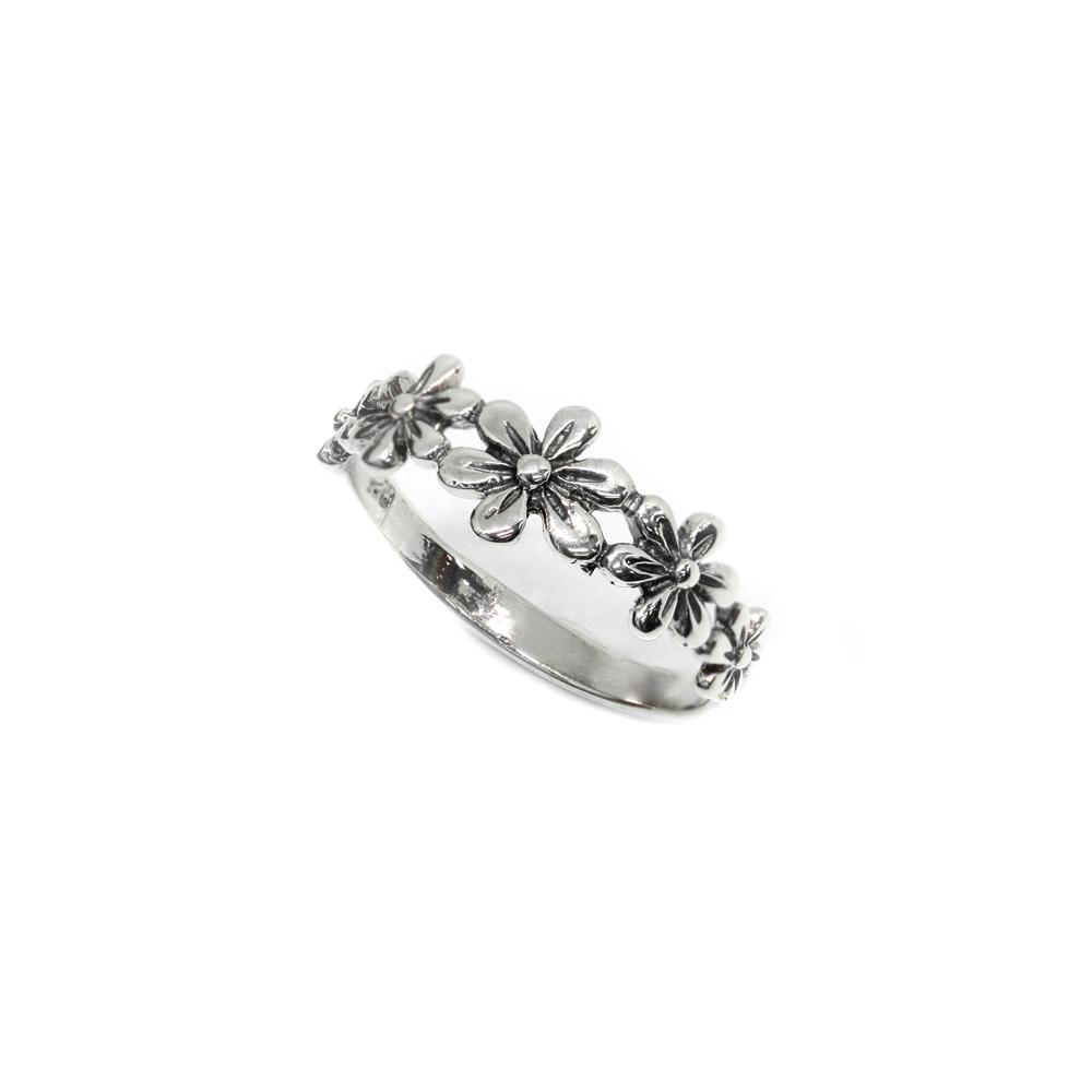 แหวนเงินแท้ลายดอกไม้