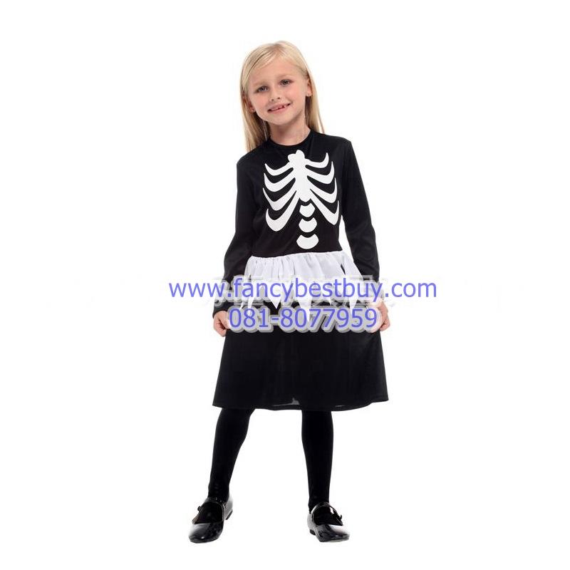 ชุดโครงกระดูกสำหรับเด็กหญิง สำหรับงานแฟนซี วันฮาโลวีน Skeleton GIRL มีขนาด M, L, XL