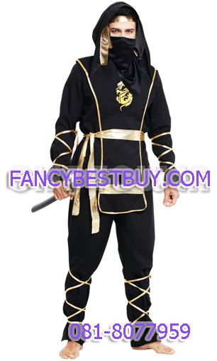 ชุดนินจาสีดำ Ninja Costume ขนาดฟรีไซด์