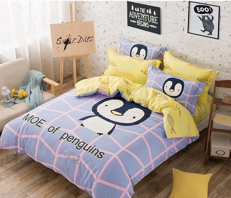 #ชุดผ้าปูที่นอน มีผ้าปูที่นอน1ผืน ปลอกหมอน2ชิ้น และผ้าห่ม1ผืน ลายการ์ตูนนกพนกวิน MOE OF PENGUINS