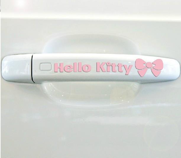 สติ๊กเกอร์ติดมือจับประตูรถ Hello Kitty แบบ 5 สีชมพู (1Pack/4ชิ้น)