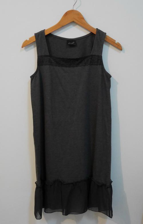 jp3793 ชุดนอนผ้ายืดสีเทา ระบายชายผ้าชีฟอง รอบอก 32-33 นิ้ว