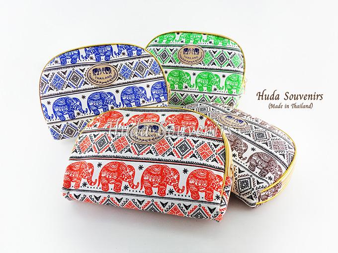 ของที่ระลึกไทย กระเป๋าผ้าลายไทย ขอบทอง (ขนาด: ขอบทอง L) ลายช้าง หนึ่งโหลคละสี จำหน่ายยกโหล สินค้าพร้อมส่ง