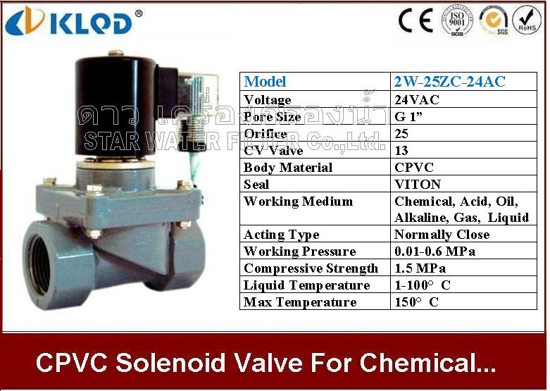 CPVC Solenoid valve ทนความร้อน และ สารเคมี 1 นิ้ว 24VAC KLOD