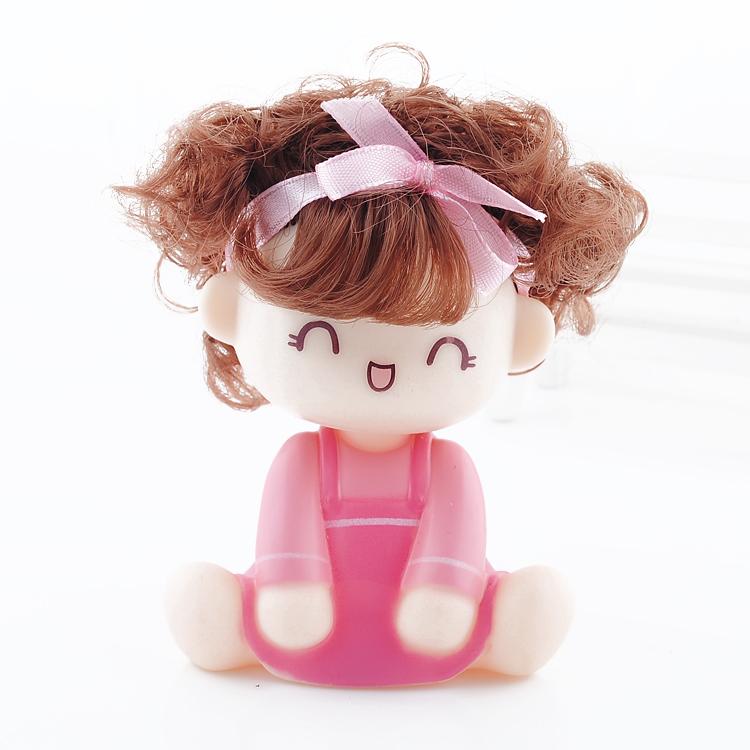 อุปกรณ์ตกแต่งภายในรถ ตุ๊กตาประดับหน้ารถเด็กน่ารัก กระโปรงสีชมพู