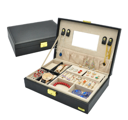 กล่องเก็บแหวนสร้อยต่างหู นาฬิกา กำไลข้อมือ 2 ชั้น ครบในกล่องเดียว