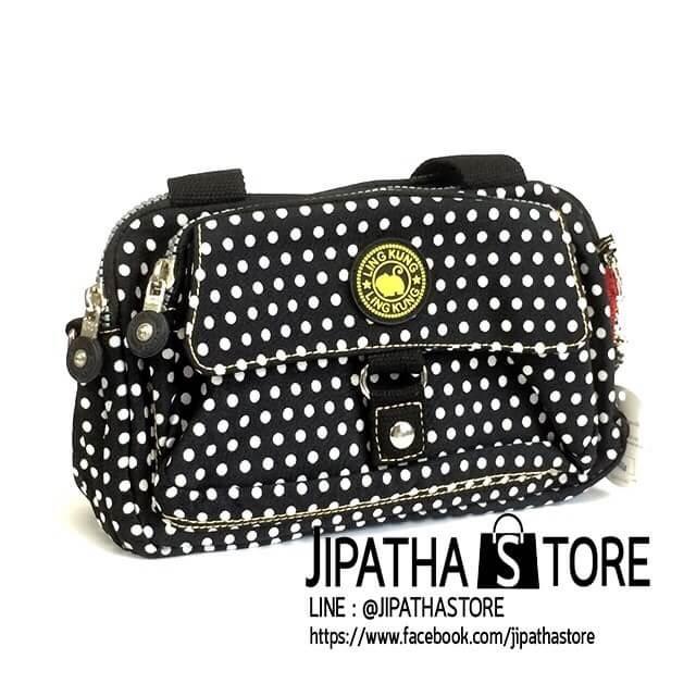 กระเป๋าเนื้อ kipling + สะพาย ใบเล็ก สีดำ ลายจุดเล็ก