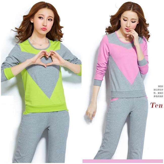 เซ็ทเสื้อเสื้อจั๊มเปอร์และกางเกง Two-Pieces Long Sleeves Running Suite