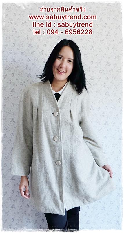 ca-2543 เสื้อโค้ทกันหนาวผาวูลสีเทา รอบอก46