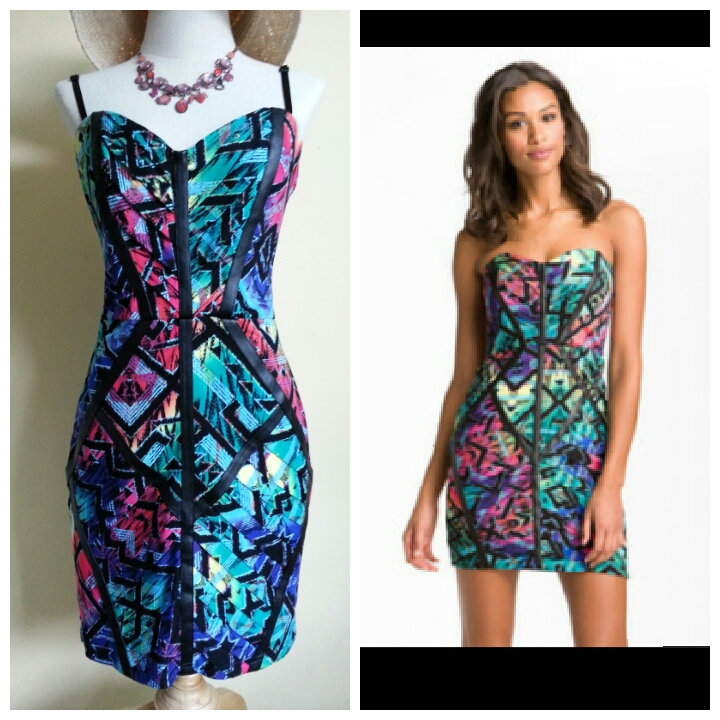 Lipsy Neon Tribal Bandeau Dress Size uk14