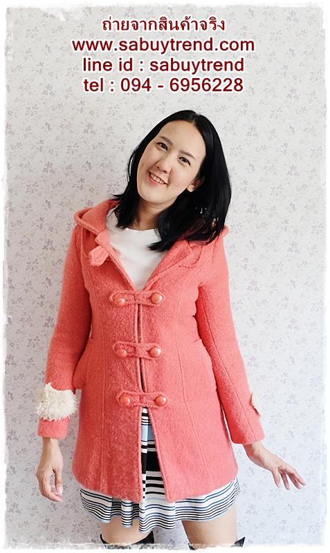 ((ขายแล้วครับ))((ขายแล้วครับ))((คุณKatจองครับ))ca-2675 เสื้อโค้ทกันหนาวผ้าวูลสีชมพู รอบอก33